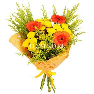 Букет из желтых хризантем и гербер