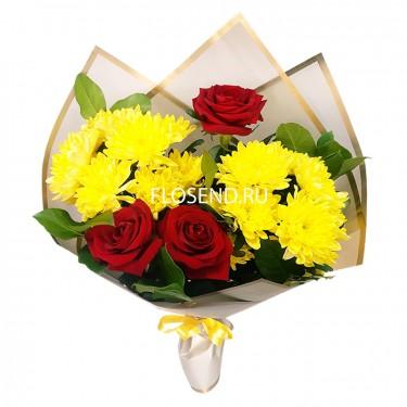 Букет из 3 роз и хризантем